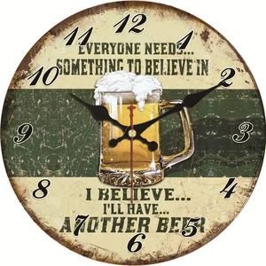 壁掛け時計 ビール 15cm レトロ感 大人のインテリア