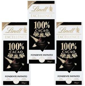 リンツ(Lindt)  エクセレンス・100%カカオ 50g×3個   【ハイカカオ ダークチョコ 無糖】