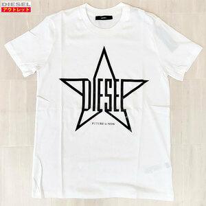 アウトレット! DIESEL ディーゼル レディース 00SPBA 0CZJA 100 M 白 半袖 Tシャツ クルーネック 星 スター クリックポスト送料無料