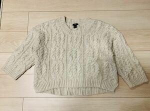 H&M ローゲージ ケーブルニット セーター Sサイズ 生成色 アイボリー