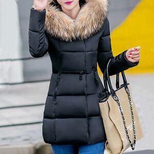 レディースダウンジャケット ダウンコート ブラック 中綿コート ファー付き Mサイズ Lサイズ  中綿ジャケット