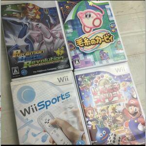 Wii ソフト4点セット ポケモンバトルレボリューション 毛糸のカーヴィー Wiiスポーツ いただきストリート