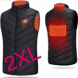 新品 2XLサイズ ヒーターベスト 電熱ベスト 電熱ジャケット 男女兼用 ヒーター内蔵ベスト 防寒ベスト USB ヒートベスト ベスト 作業着