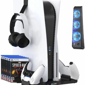 【PS5 コントローラー 充電器】PS5縦置きスタンド 3in1 収納+冷却+充電