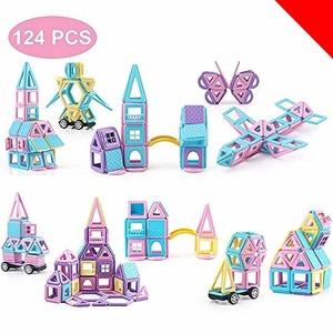 限定価格!マカロン色 124PCS Aomiks マグネットおもちゃ マグネットブロック 磁気ブロック 知育玩具 積み木 MKF6