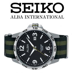 1円×3本セイコーALBA逆輸入モデル美しすぎるブラック×アーミーグリーン/NATOベルト100m防水新品激レア入手困難アルバ日本未発売SEIKO