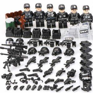 MOC LEGO レゴ 互換 SWAT 特殊部隊 カスタム ミニフィグ 6体セット 大量武器・装備・兵器・軍犬付き D178