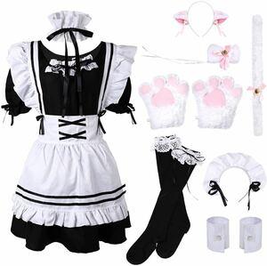 ハロウィン★衣装 Lサイズ メイド服 猫 コスプレ かわいい 10点セット ウェイトレス