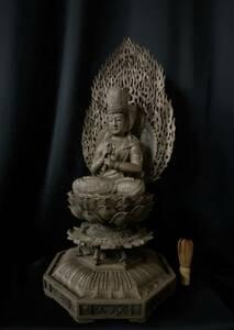 高62cm 井波彫刻 一刀彫り 時代彫刻 仏教工芸品 香樟材 木彫仏教 精密彫刻 仏師で仕上げ品 大日如来座像