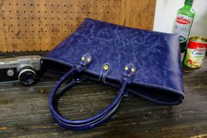 ◆濃紺色◇ダークネイビー牛革シュリンクレザートートバッグ Lサイズ◆作家手作り★牛革日本製帆布鞄ハンドメイド