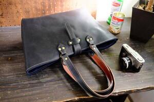 ◆良質◇漆黒イタリアン牛革グロスブラックレザートートバッグ Lサイズ大容量A4 作家手作り★牛床革日本製帆布鞄ハンドメイド