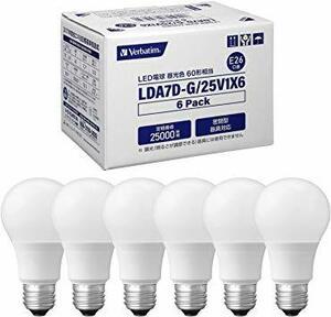 昼光色 60W 三菱ケミカルメディア Verbatim LED 一般電球タイプ 口金E26 昼光色 7.2w 810lm 広配
