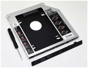 国内発送 Dell Latitude E5400 E5420 E5500 E5520 等ノートパソコン用 セカンドHDDアダプター◆SSDマウンタ SATA接続 12.7mm