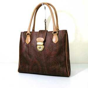 A ★ 高級 イタリア製 '気品溢れる' エトロ ETRO ロゴ刻印 ゴールド金具 ペイズリー柄 3層式 セミショルダー 肩掛け トートバッグ 婦人鞄