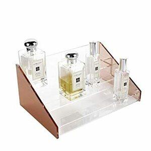 ローズゴールド Moosy Life ローズゴールドアクリル香水ディスプレイラック、3層