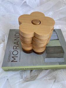 木製コースター 5枚 花 韓国 北欧 ホルダー付き インテリア小物