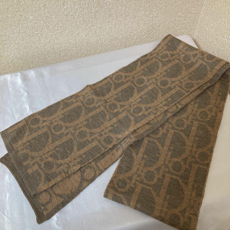[1円スタート] 未使用品 Christian Dior クリスチャンディオール トロッター柄 マフラー ベージュ