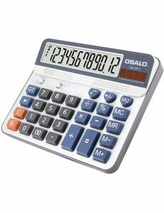 電卓 大型12桁 大きい サイズ ソーラー 卓上 でんたく計算機 OS-6815