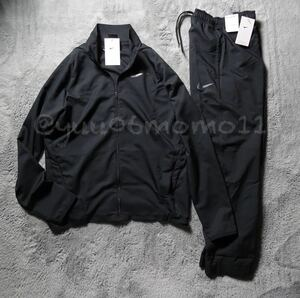 新品 正規品 サイズM NIKE ナイキ ウ-ブン上下セットアップ 黒 ブラック ジップアップ ジャケット 黒 ブラック パンツ 薄手 DRI-FIT