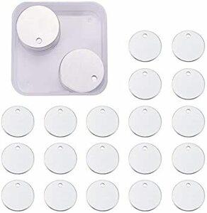 円形-直径:2.5㎝ 円形 BENECREAT 30枚アルミ札 ネームタグ トラベルバッグタグ DIYブランクアルミ札 迷子札