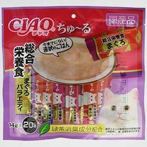好評 新品 (CIAO) チャオ 7-QQ (x 20) 猫用おやつ ちゅ~る まぐろ総合栄養食バラエティ 14グラム