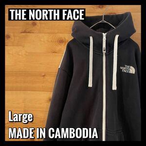【THE NORTH FACE】ジップアップ パーカー ワンポイント ハーフドーム 刺繍ロゴ バックプリントビッグロゴ サイズL