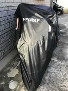 大型・中型バイクにVelway バイクカバーとワイヤーロック 盗難防止、防水、防風、UVカットに 丈夫なオックス生地、反射、鍵穴付
