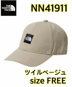 【新品】 THE NORTH FACE ノースフェイス スクエアロゴキャップ 帽子 ベージュ フリーサイズ NN41911