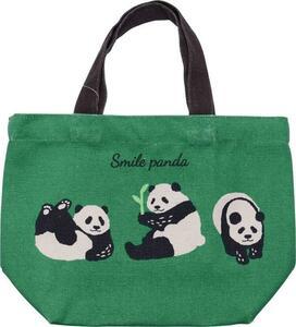 トートバッグ スマイルパンダ グリーン ミニトートバッグ 内ポケット付き お散歩バッグ お散歩やお弁当にピッタリ パンダ