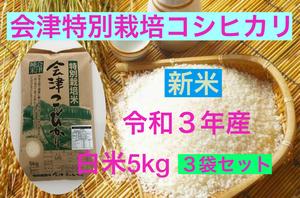 新米 送料無料 令和3年産 特別栽培米・会津コシヒカリ 白米 5kg×3袋 計15kg