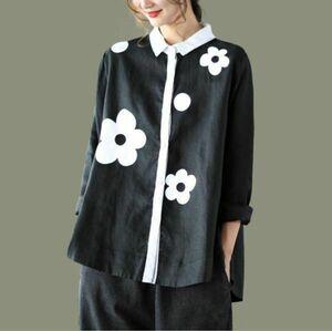 S~ 2XLサイズ ■秋新品 カジュアル ナチュラル 可愛い 花柄 チュニック 綿麻 ゆったり大きいサイズ 長袖 シャツブラウス 黒