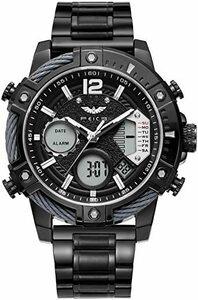 ◆残1◆ブラック FEICE スポーツ 腕時計 メンズ ペアウォッチ 多機能 クォーツ LEDデジタル 時計 アナログ表示時計 防水 男