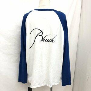 中古 RHUDE ルード ロングTシャツ ロンT ブルー ホワイト ラグラン Long Sleeve Raglan Tee Blue White Mサイズ 長袖 H15924