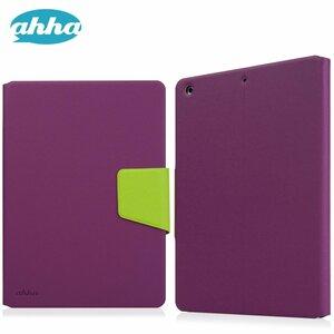 即決・送料込)【スタンド機能つき ブックタイプケース】ahha iPad Air Smart Flip Case ZAKI Purple/Green
