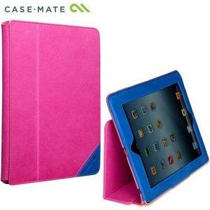 即決・送料込)【スタンド機能付きブックタイプケース】Case-Mate iPad 4/3/2 対応 Solid Leather Caes Colorblock Lipstick Pink/Marine