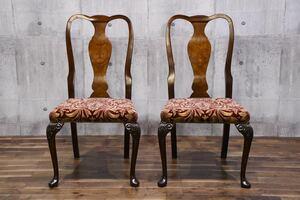 AFC46 英国 アンティーク クイーンアンチェア 2脚セット 猫脚 彫刻 サロンチェア ダイニングチェア イギリス アンティークチェア 食卓椅子