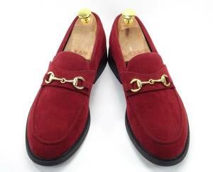 即決 glabella 25.0cm ビットローファー グラベラ メンズ 濃赤 ワイン スエード 革靴 ビットストラップ カジュアルシューズ 紳士靴 通勤