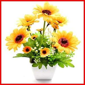 【送料無料-最安】フェイクグリーン 人工観葉植物 BEADY インテリア G0697 ヒマワリ 四方の鉢 光触媒 ギフト お祝い 盆栽 造花