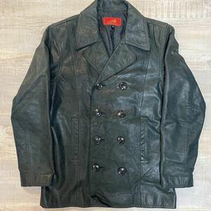 【牛革】Indian Motorcycle カウ レザー ピーコート ジャケット ブラック サイズ38 インディアン モーターサイクル Pコート メンズ