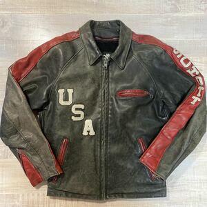 【USA製 本革 ボアライナー 襟付き】Schott シングル レザー ライダース ジャケット 黒 赤 サイズ38 ショット ライン メンズ ビンテージ