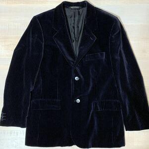 【新品同様 フランス製】90s Agnis b homme ベロア ストライプ テーラード ジャケット ブラック サイズ52 アニエスベー アニエスb メンズ