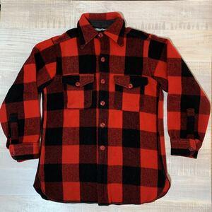 【USA製】60s 70s 白タグ Woolrich バッファロー チェック ウールシャツ レッド ブラック サイズM ウールリッチ メンズ ビンテージ