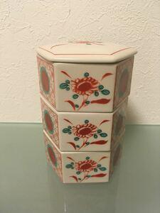 六角重箱 三段 蓋付き小鉢 旅館仕様 和食器