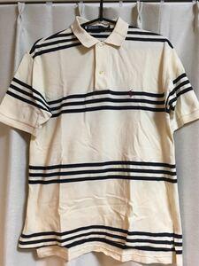 Polo by Ralph Lauren ポロシャツ ボーダー クリーム ネイビー Sサイズ 古着 ラルフローレン RL 半袖 中古