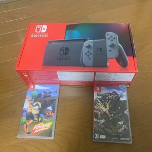 Nintendo Switchグレー、リングフィット、モンスターハンターライズのセット