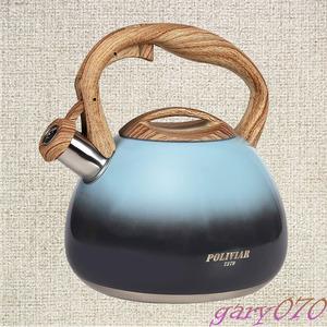 『ディープブルー』 IH対応 1L 笛吹き やかん 温度計付き ケトル ステンレス ドリップポット タッチボタン 木目ハンドル ヤカン