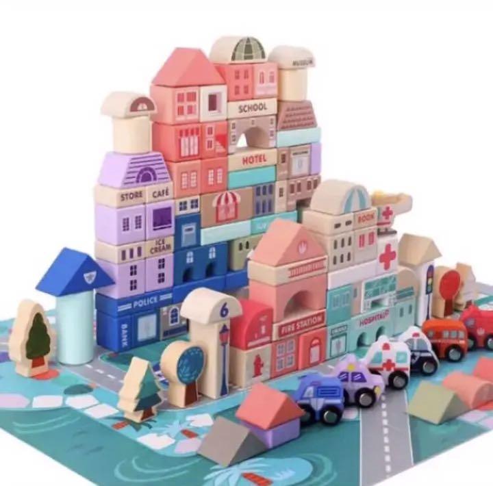 おもちゃ 木製 積み木 玩具 ベビー キッズ カラフル 早期教育 集中力 創造性