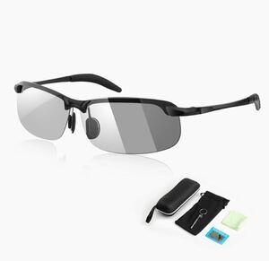 スポーツサングラス偏光 メンズ 紫外線カット UV400 変色 強光 メタル 昼夜兼用 偏光サングラス 超軽量 偏光レンズ