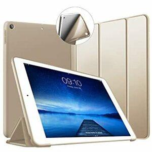 ゴールド iPad 10.2 ケース 第7世代 第8世代 ソフトカバー オートスリープ機能 PUレザーカバー 三つ折りスタンド