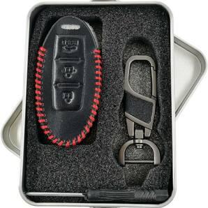 【送料無料】日産 レザー キーケース セレナ C25 C26 ニッサン キーカバー エルグランドE52 E51 赤ステッチB 黒 ブラック キーホルダー